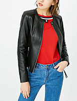 cheap -Women's Daily Casual Fall Leather Jacket,Solid Round Neck Long Sleeve Short PU Oversized