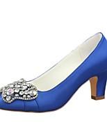 economico -Da donna Scarpe Raso elasticizzato Primavera Autunno Decolleté scarpe da sposa Quadrato Punta tonda Cristalli per Formale Serata e festa