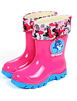 cheap -Girls' Shoes PVC Leather Spring Fall Comfort Rain Boots Boots Walking Shoes Mid-Calf Boots for Casual Blue Pink