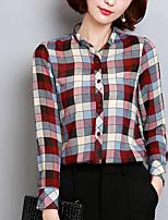 Camicia Da donna Quotidiano Casual Autunno,A scacchi Girocollo Cotone Maniche lunghe Opaco