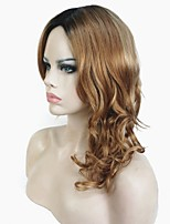 Women Synthetic Wig Long Curly Light Brown Ombre Hair Dark Roots Celebrity Wig Natural Wigs Costume Wig