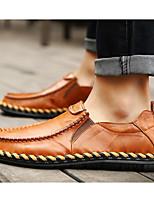 Недорогие -Для мужчин обувь Кожа Весна Осень Удобная обувь Мокасины и Свитер для Повседневные Черный Темно-русый Темно-коричневый