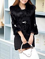 Недорогие -Жен. На выход На каждый день Зима Осень Пальто с мехом V-образный вырез,Уличный стиль Однотонный Короткая Длинные рукава,Искусственный мех
