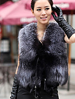 cheap -Women's Daily Casual Sophisticated Winter Fall Fur Coat,Solid Round Neck Sleeveless Short Faux Fur