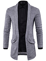 cheap -Men's Daily Casual Long Cardigan,Solid Shirt Collar Long Sleeves Polyester Spandex Winter Fall Thick Micro-elastic
