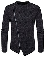 cheap -Men's Daily Casual Regular Cardigan,Solid Round Neck Long Sleeves Polyester Spandex Winter Fall Thick Micro-elastic