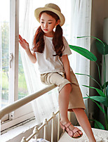 cheap -Girls' Solid Shorts,Polyester Summer Cute Active Beige