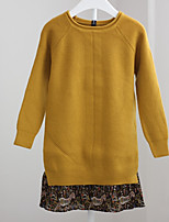 Girl's Casual/Daily Solid Patchwork Dress,Polyester Winter Fall Long Sleeves Simple Yellow