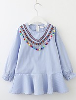 cheap -Girl's Daily Solid Striped Print Dress,Cotton Spring Fall Long Sleeves Cute Casual Princess Blue