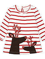 cheap -Girl's Daily Going out Animal Print Patterned Dress,Cotton Spring Fall Long Sleeve Cartoon Princess White Black
