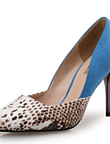 cheap -Women's Shoes Synthetic Microfiber PU Leather Spring Fall Comfort Heels Stiletto Heel Pointed Toe for Party & Evening Dress Blue