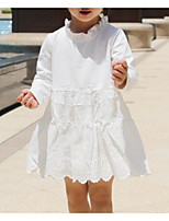 Girl's Going out Casual/Daily Solid Dress,Cotton Spring Summer Long Sleeves Street chic White