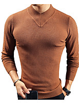 cheap -Men's Going out Casual Long Pullover,Solid Round Neck Long Sleeves Polyester Winter Fall Thick Inelastic