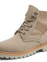 cheap -Men's Shoes Nubuck leather Suede Winter Fall Fluff Lining Comfort Combat Boots Boots Mid-Calf Boots Stitching Lace for Casual Outdoor