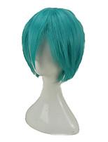 abordables -hairjoy Hombre Pelucas sintéticas Corto Rizado Verde Corte a capas Peluca de cosplay Peluca de fiesta Pelucas para Disfraz
