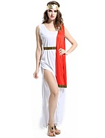 cheap -Athena Goddess Ancient Greek Costume Women's One Piece Dress Red/White Vintage Cosplay Terylene Sleeveless Knee Length