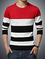cheap -Men's Casual/Daily Simple Regular Pullover,Color Block Round Neck Long Sleeve Polyester Wool Blend Winter Fall Thick Micro-elastic