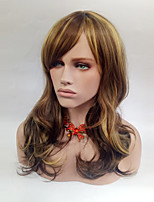 cheap -Women Synthetic Wig Medium Length Wavy Flaxen Side Part With Bangs Cosplay Wig Costume Wig