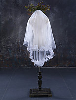 cheap -Two-tier Lace Applique Edge Bridal Wedding Wedding Veil Fingertip Veils 53 Laces Lace Tulle