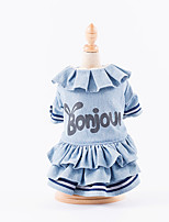 Dog Dress Dog Clothes Casual/Daily Letter & Number Light Blue Dark Blue Costume For Pets