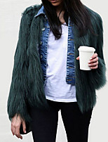cheap -Women's Daily Vintage Winter Fall Fur Coat,Solid Round Neck Long Sleeve Regular Faux Fur Oversized