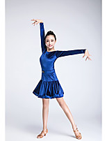 cheap -Latin Dance Outfits Children's Performance Velvet Chiffon Pleated Long Sleeve Natural Skirts Tops