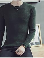 preiswerte -Herren Standard Pullover-Lässig/Alltäglich Einfach Solide Rundhalsausschnitt Langarm Polyester Winter Herbst Undurchsichtig