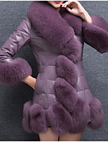 Women's Casual/Daily Simple Fall Fur Coat,Solid Stand Long Sleeve Regular Faux Fur Fur Trim