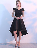Ball Gown V-neck Short / Mini Jersey Cocktail Party Dress with Sash/Ribbon Pleats