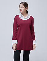 cheap -Women's Daily Casual Winter Fall T-shirt,Solid Shirt Collar Long Sleeve Polyester Opaque