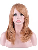 Balayage Hair Synthetic Wig Women Blonde Wavy Medium Wig With Bangs For Party Costume