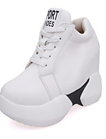 cheap -Women's Shoes PU Spring Comfort Sneakers Flat for Casual Black White