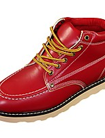 cheap -Men's Shoes PU Spring Fall Comfort Boots for Casual Red Brown Black White