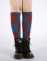 cheap -Women's Hosiery Warm StockingsAcrylic Plaid/Check 1set Black Blue