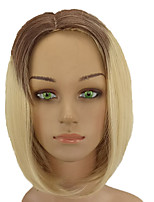 cheap -Women Synthetic Wig Medium Length Straight Black/Gold Ombre Hair Middle Part Bob Haircut Natural Wigs Costume Wig