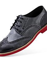 baratos -Masculino sapatos Pele Primavera Outono Conforto Oxfords para Casual Cinzento Escuro