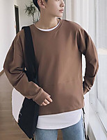 cheap -Men's Petite Going out Sweatshirt Solid Print Round Neck Micro-elastic Polyester Long Sleeve Autumn/Fall