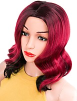 cheap -Women Synthetic Wig Short Natural Wave Black/Rose Red Middle Part Layered Haircut Natural Wigs Costume Wig