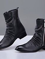 cheap -Men's Shoes Sheepskin Spring Fall Combat Boots Boots Booties/Ankle Boots for Casual Party & Evening Black