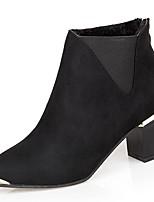 abordables -Mujer Zapatos PU microfibra sintético Invierno Otoño Confort Botas Talón de bloque Dedo Puntiagudo Mitad de Gemelo para Casual Negro