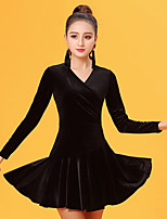 Latin Dance Dresses Women's Performance Velvet Chiffon Pleated Long Sleeve Natural Dresses