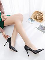 preiswerte -Damen Schuhe PU Frühling Sommer Komfort High Heels Stöckelabsatz Spitze Zehe Geschlossene Spitze für Normal Schwarz Khaki