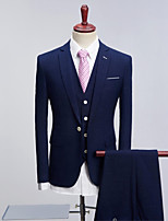 Navy Blue Pattern Standard Fit Polyester Suit - Peak Single Breasted One-button