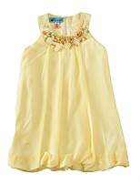 cheap -Girl's Daily Going out Solid Mosaic Dress,Cotton Sequins Summer Sleeveless Cute Princess Yellow
