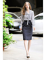 cheap -Women's Daily Casual Winter Fall Set Skirt Suits,Striped V-neck Long Sleeve Polyester