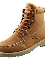 Men's Shoes PU Winter Fall Comfort Boots Mid-Calf Boots for Casual Khaki Black