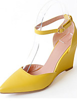 cheap -Women's Shoes PU Spring Summer Comfort Novelty Heels Wedge Heel Pointed Toe Buckle for Wedding Party & Evening Pink Yellow White