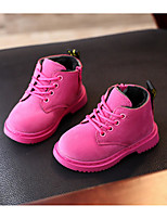 cheap -Girls' Shoes Nubuck leather Winter Fall Comfort Combat Boots Boots Booties/Ankle Boots for Casual Peach Yellow Black
