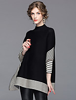 cheap -Women's Going out Street chic Winter Fall Wrap Pant Suits,Striped Stand Long Sleeve Knitting Polyester Stretchy