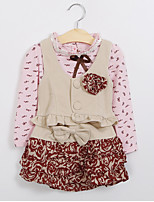 cheap -Girls' Color Block Clothing Set,Polyester Spring Fall Long Sleeve Cute Blushing Pink